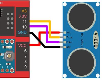 Webduino 超音波偵測距離,靠近就亮燈