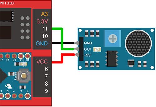 Webduino 偵測聲音開燈